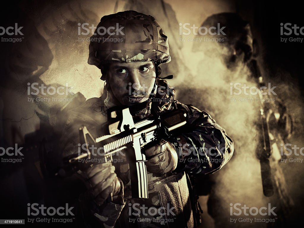 two soldiers in action royalty-free stock photo