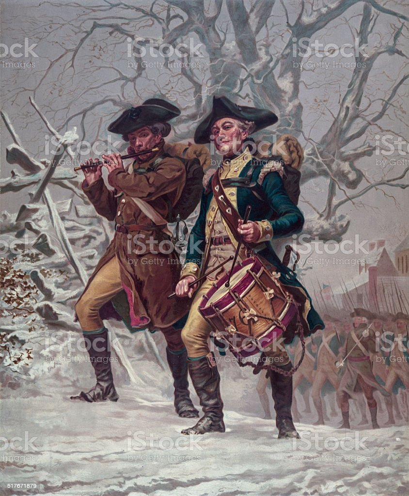 Two Soldiers of the Continental Army Color Guard stock photo