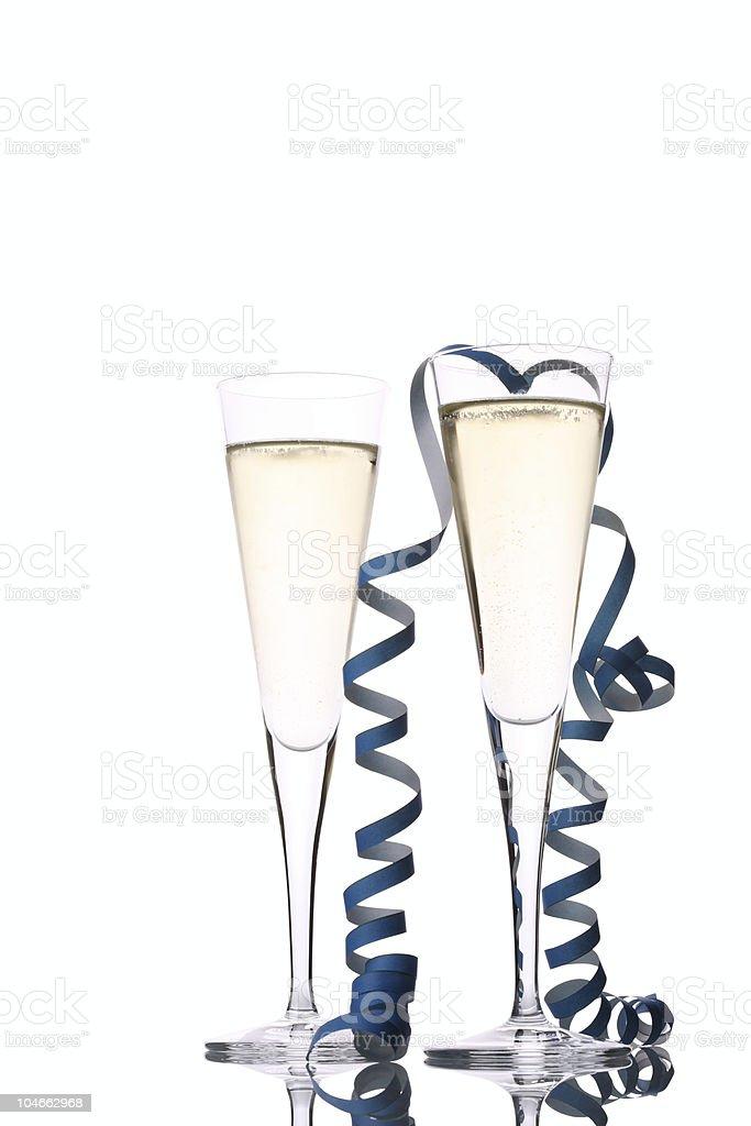 Two Sparkling Wine Glasses Celebration royalty-free stock photo