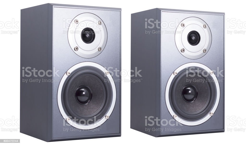 two speakers view isolated on white background stock photo