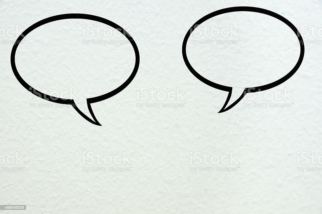 Two Speech Bubble On The Wall stock photo