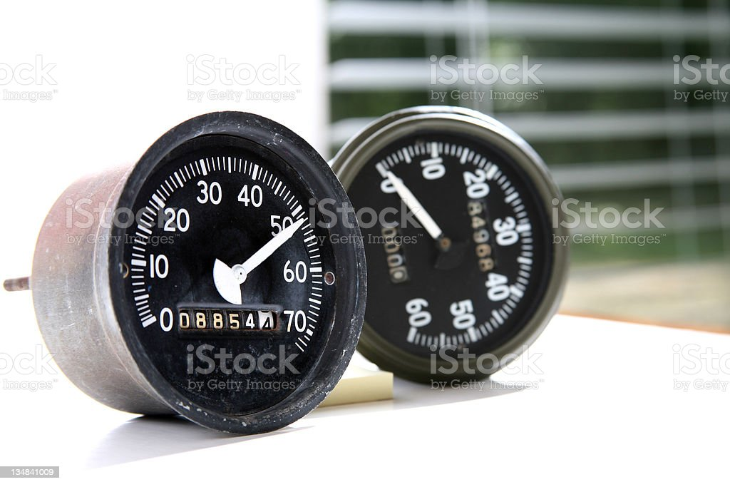 Two speedometers royalty-free stock photo