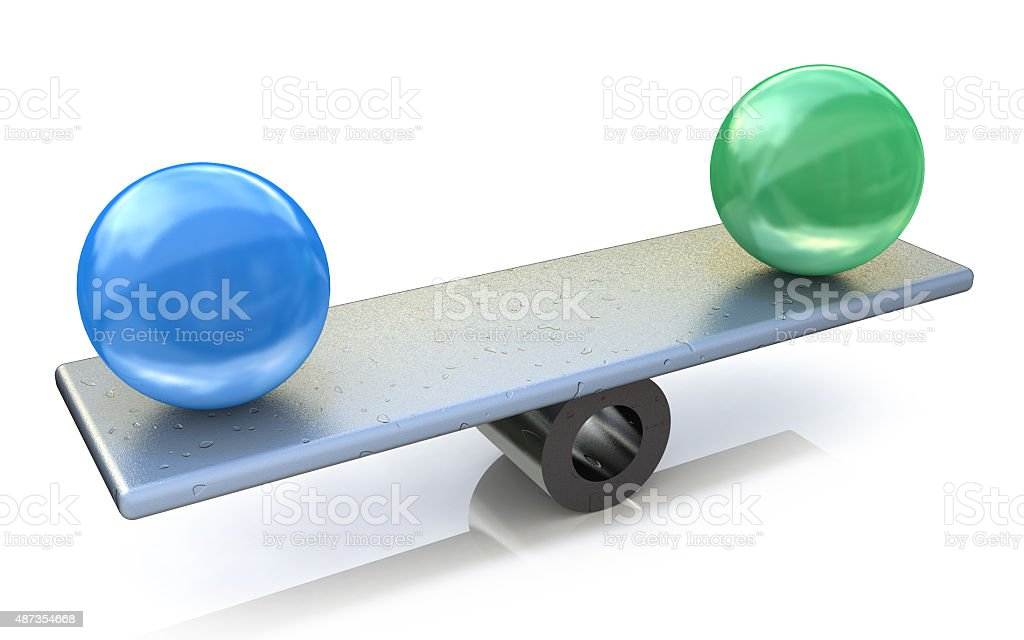 Two spheres in balance. 3d rendered illustration stock photo
