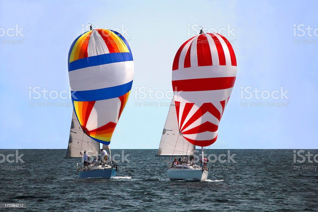 Two Spinnakers royalty-free stock photo