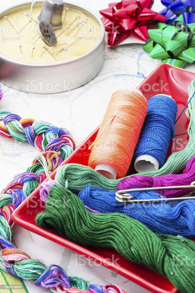 two spools of thread royalty-free stock photo