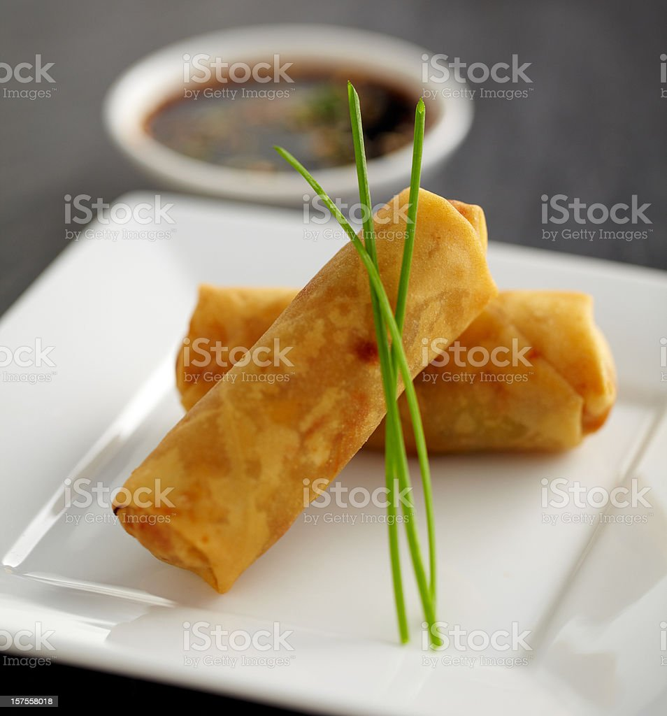 Two Spring rolls on a plate with dip stock photo