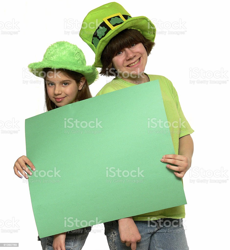 Two St. Patrick's Girls stock photo