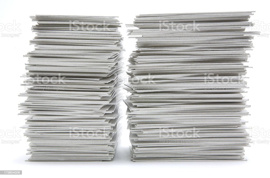 Two stacks of hand trimmed cards royalty-free stock photo