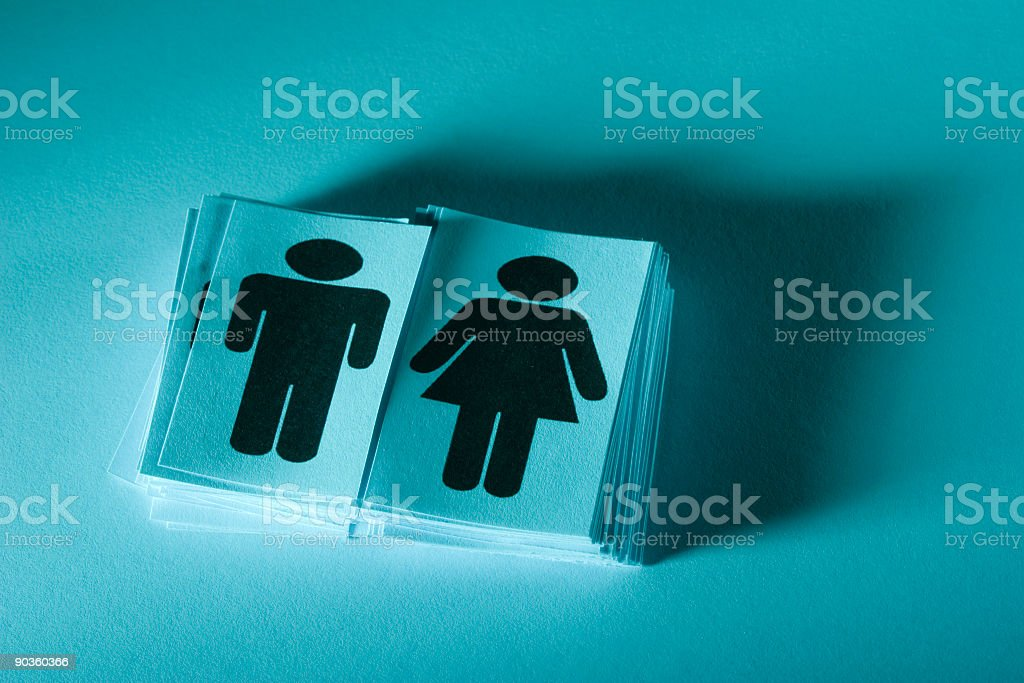 Two stacks of pictogram cards for men and women royalty-free stock photo