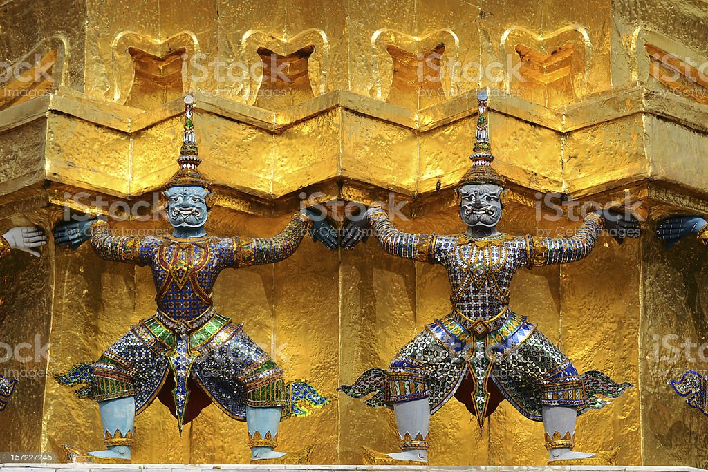 Two Statue of Giant Guardians inWat Phra Kaeo royalty-free stock photo
