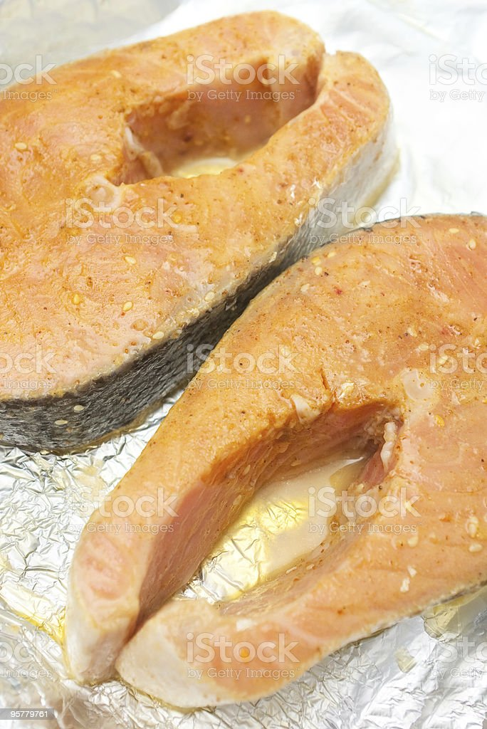 two steaks of red fish stock photo