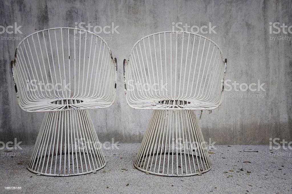 two steel chairs stock photo