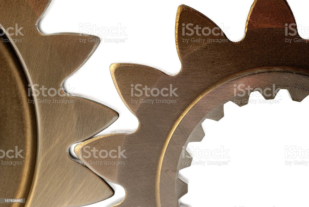 Two steel gears close up royalty-free stock photo