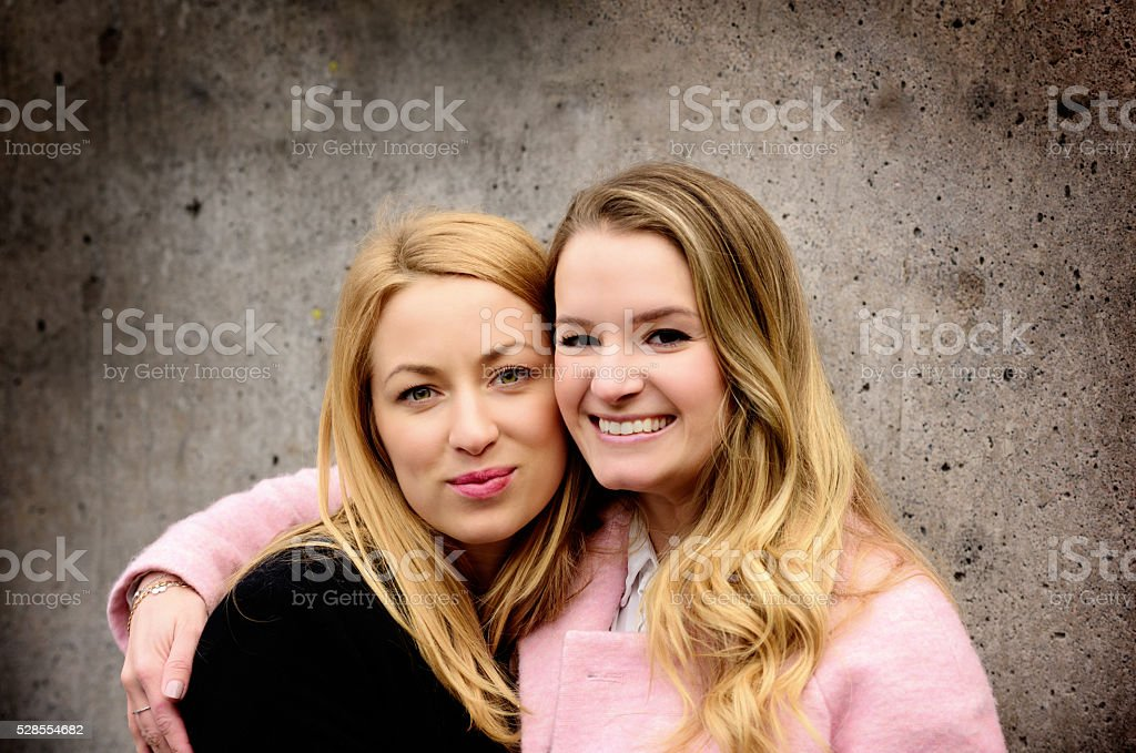 Two Stockholm blondes friends at Sergels Torg stock photo