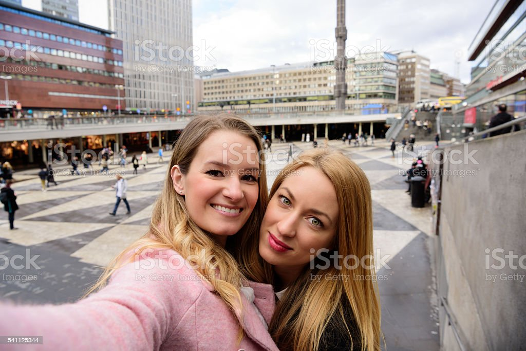 Two Stockholm blondes taking selfie stock photo