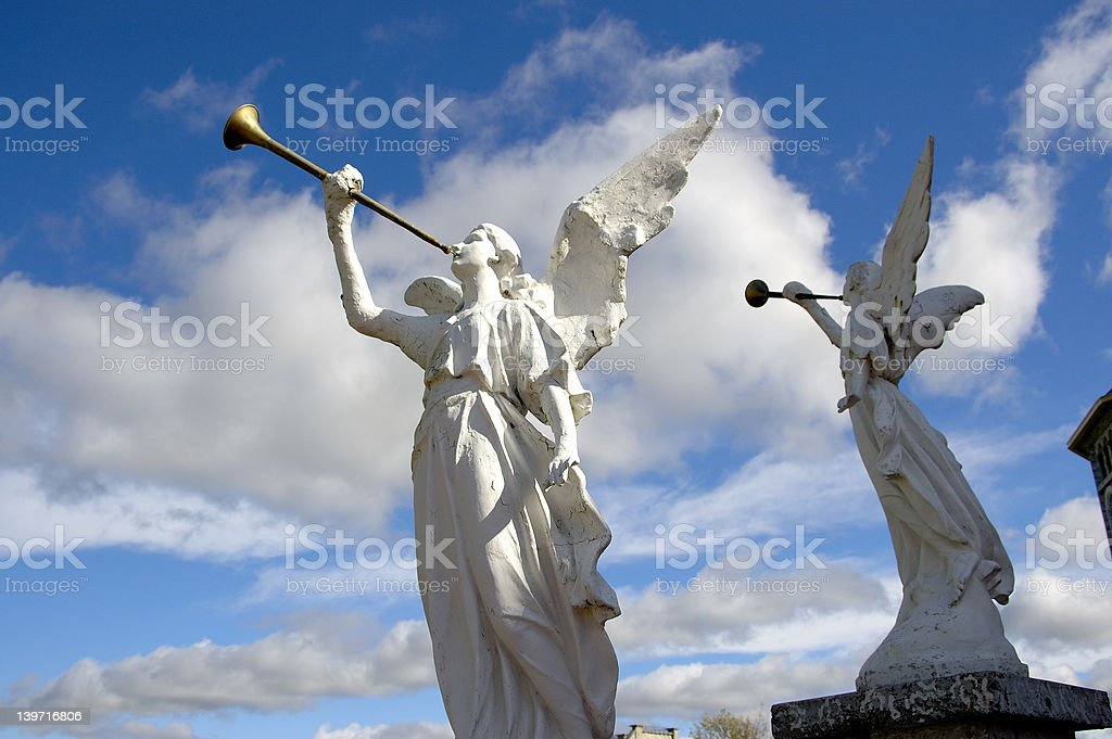 Two Stone Angels stock photo