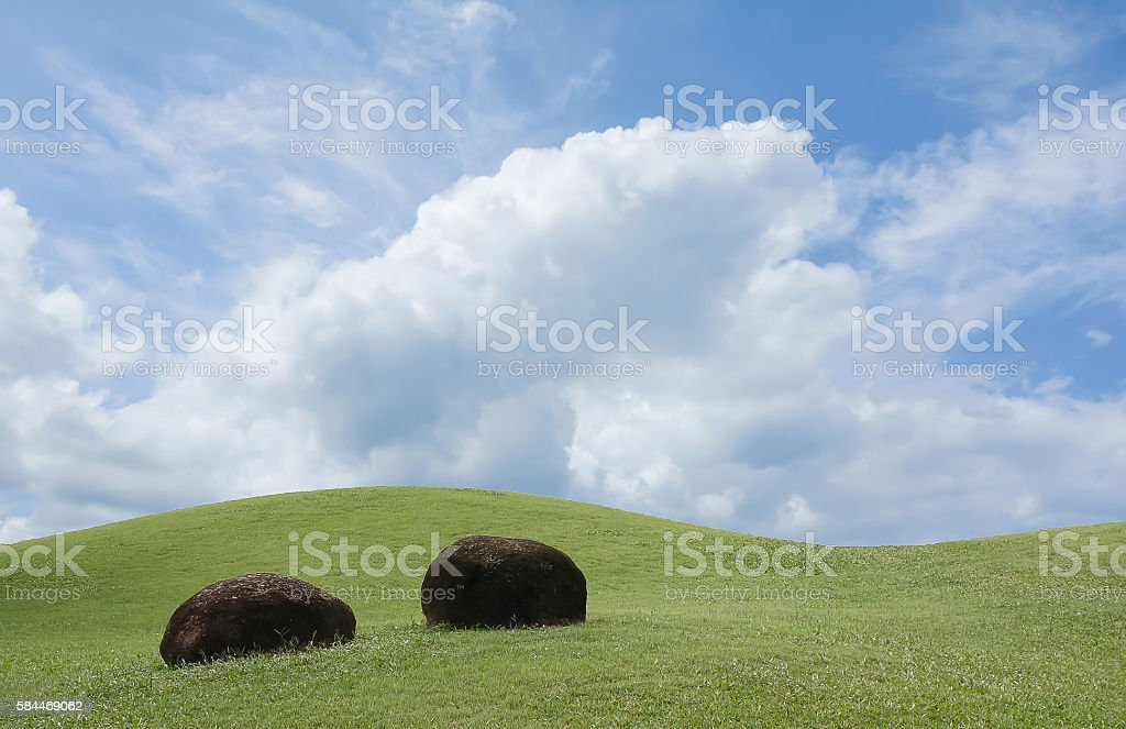 Two stones with curve shape of green field stock photo