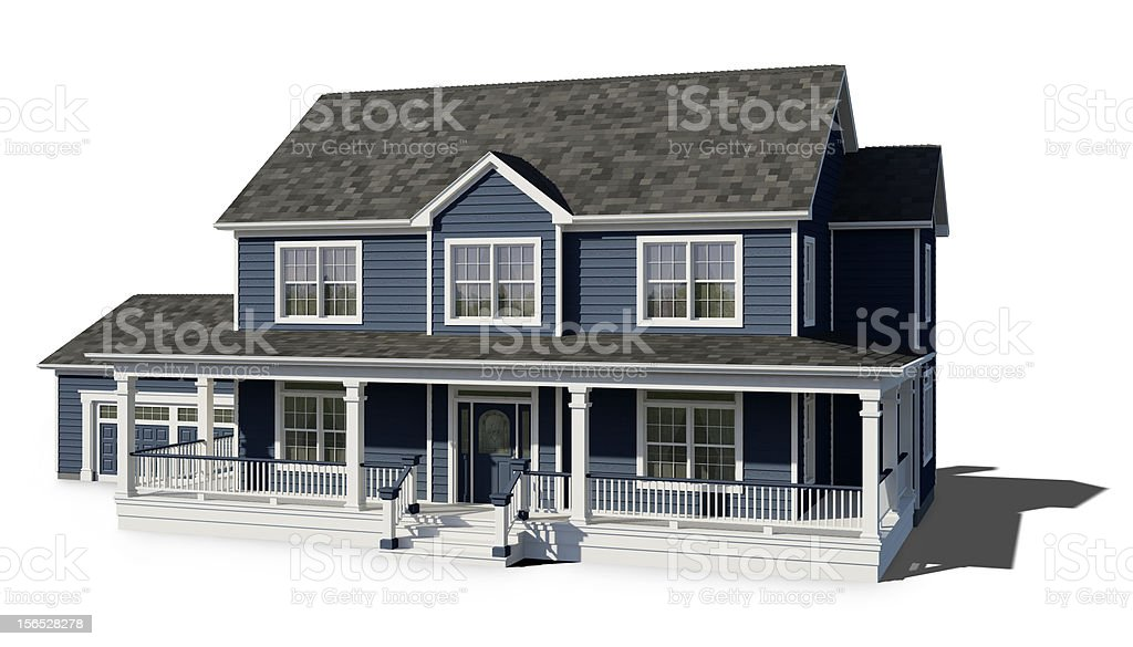 Two Story House - Blue stock photo