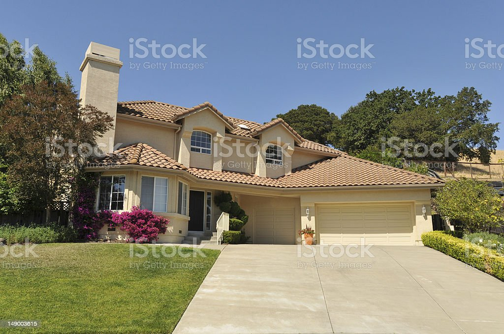 Two story single family house with driveway stock photo