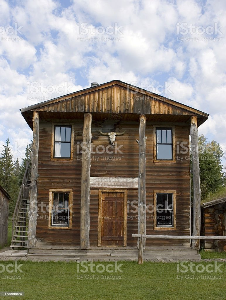 Two Story Wooden Bank Building stock photo
