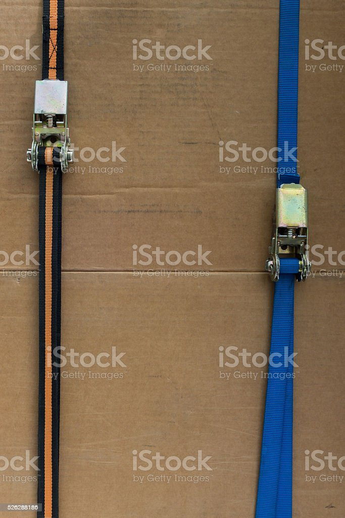 two strap with ratchet, with Copy Space stock photo