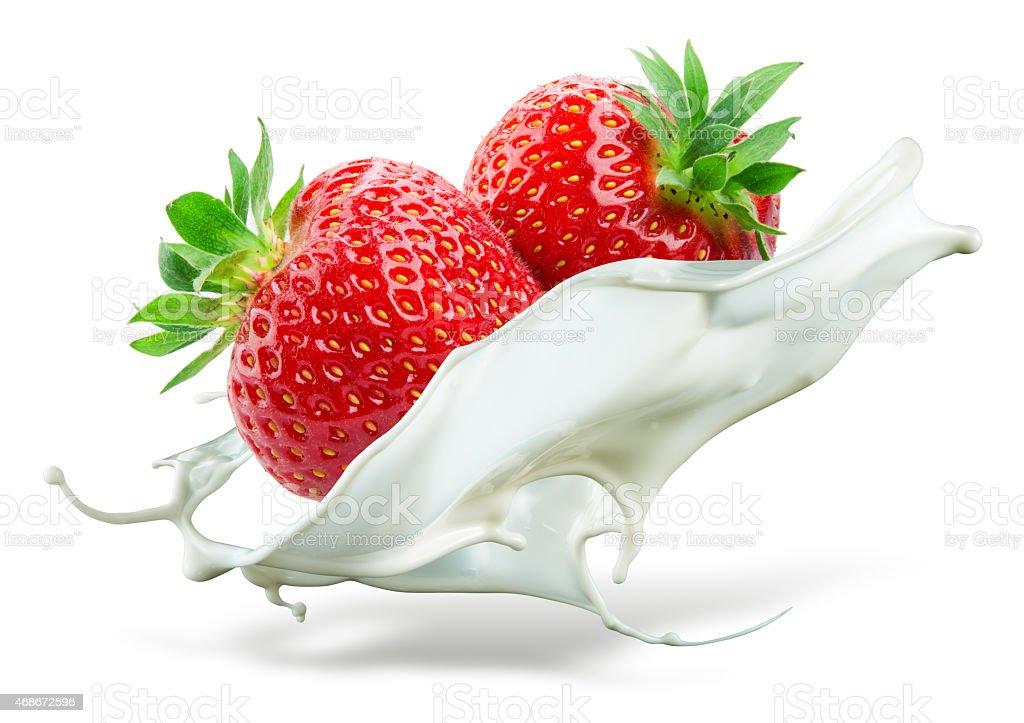 Two strawberries falling into milk. Splash isolated on white background stock photo