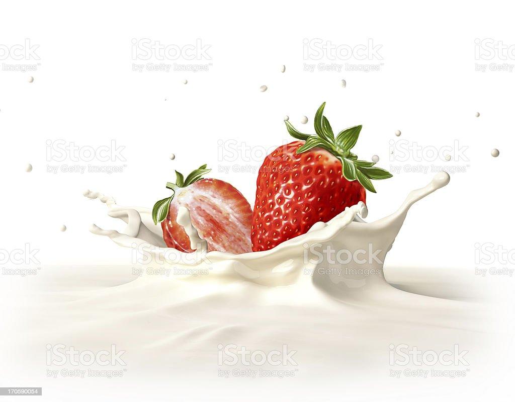 Two strawberries falling into milk splashing. At white background. royalty-free stock photo