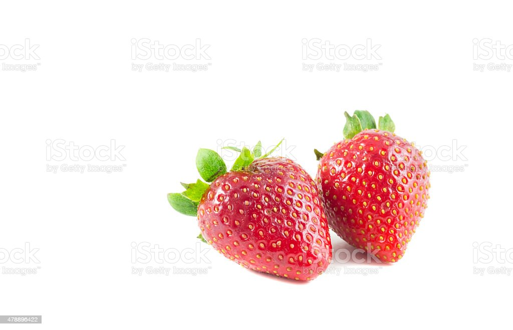 Two strawberry isolate stock photo