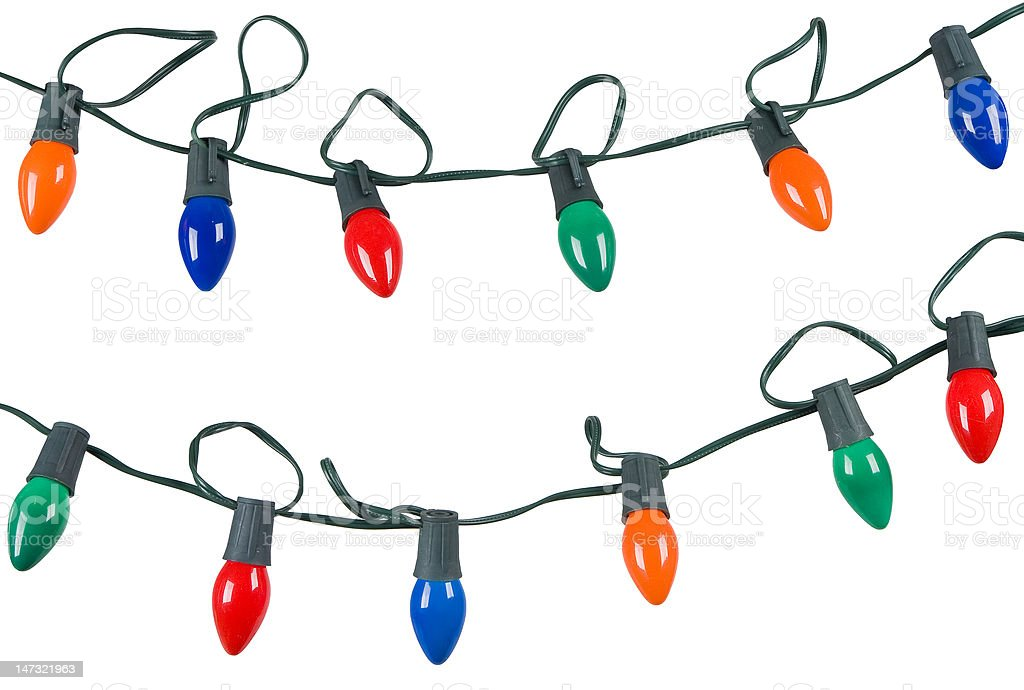 two strings of christmas lights isolated on white royalty-free stock photo