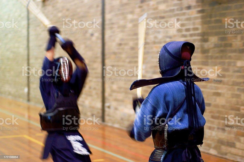 Two students Kendo training at University level stock photo