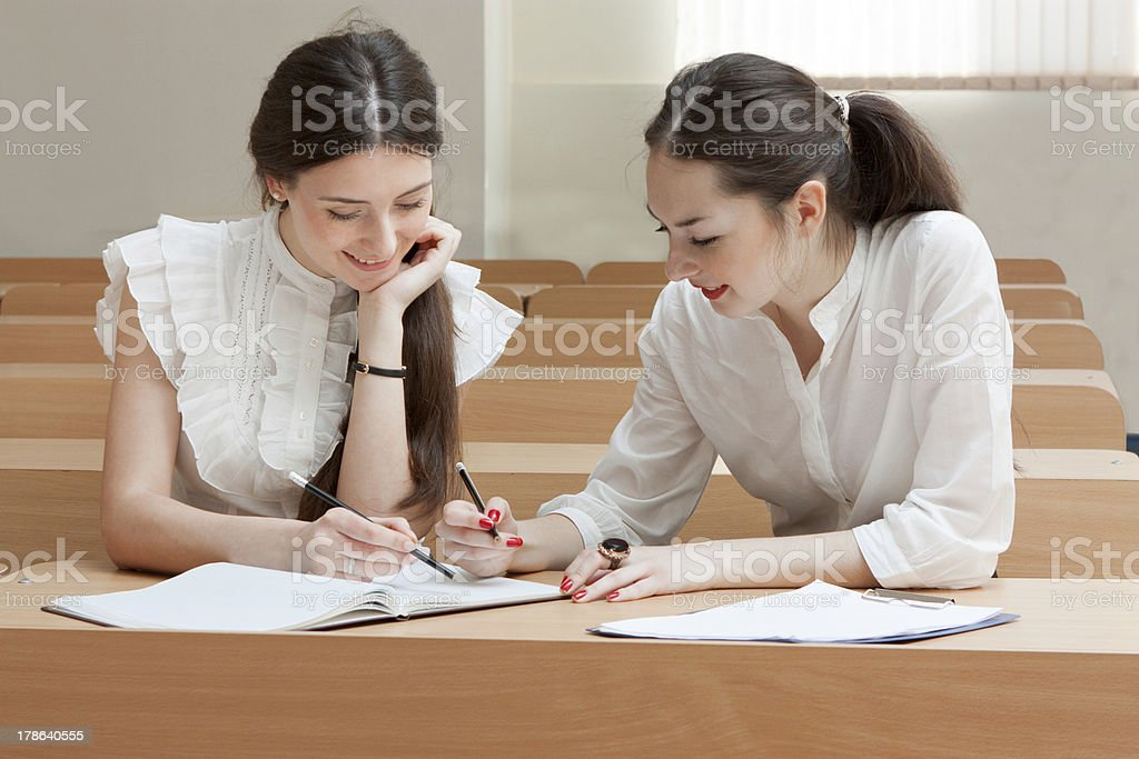 two students make lessons royalty-free stock photo