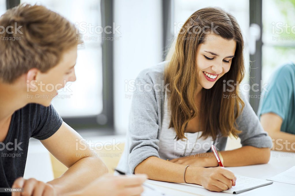 Two students studying together. royalty-free stock photo