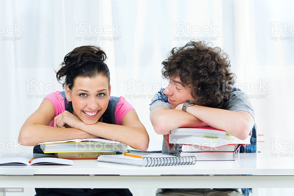 Two Students Talking Laughing royalty-free stock photo