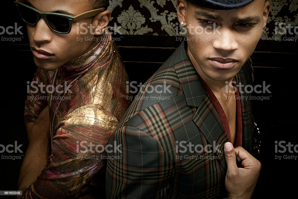 Two stylish young men stock photo