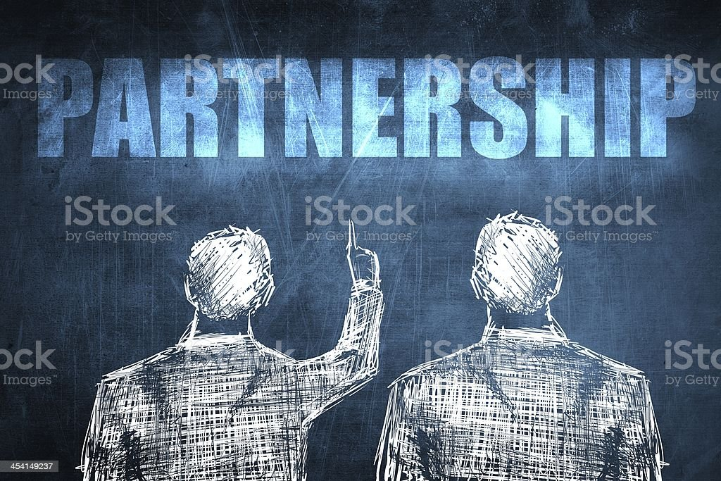 Two successful businessman showing partnership, business concept royalty-free stock photo
