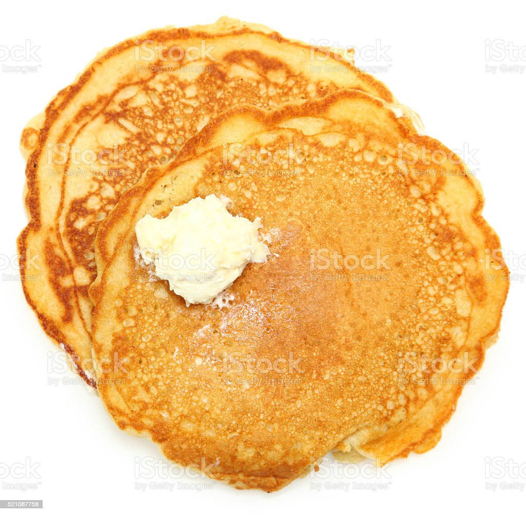 Two Sugar Free Pancakes with Butter stock photo
