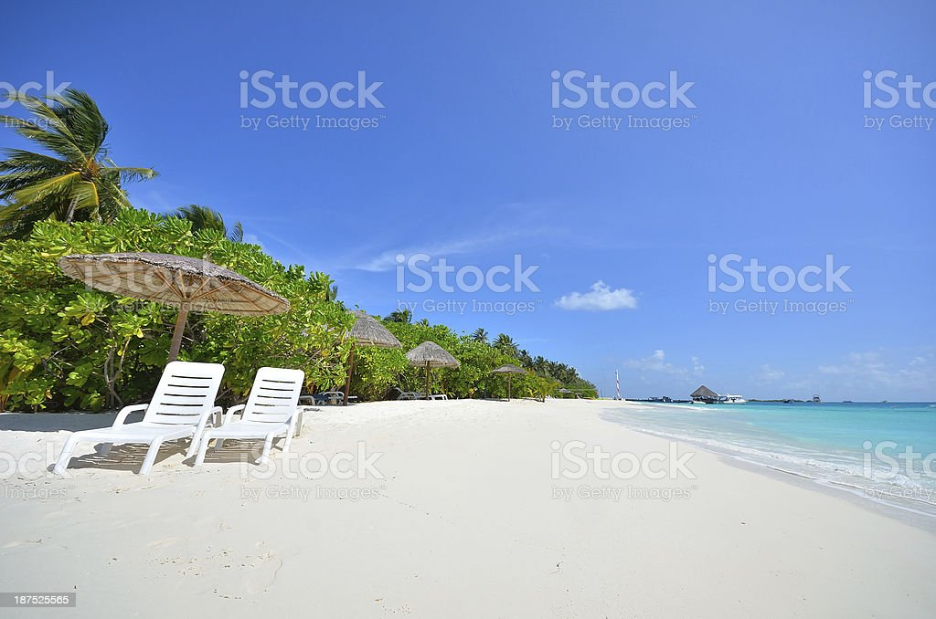 Two sunbeds on the tropical beach stock photo
