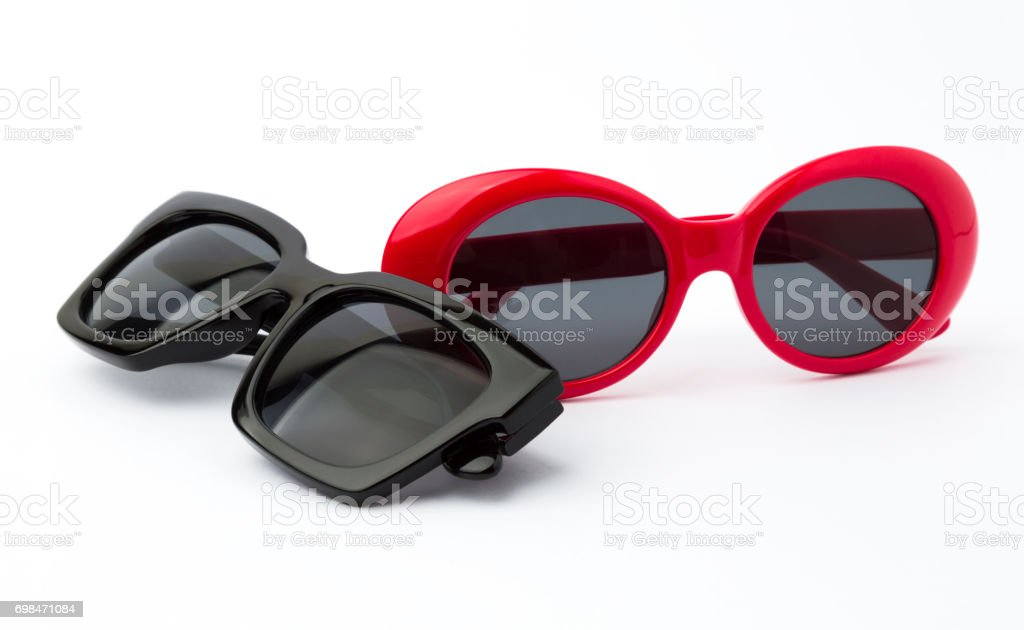Two sunglasses on white background stock photo
