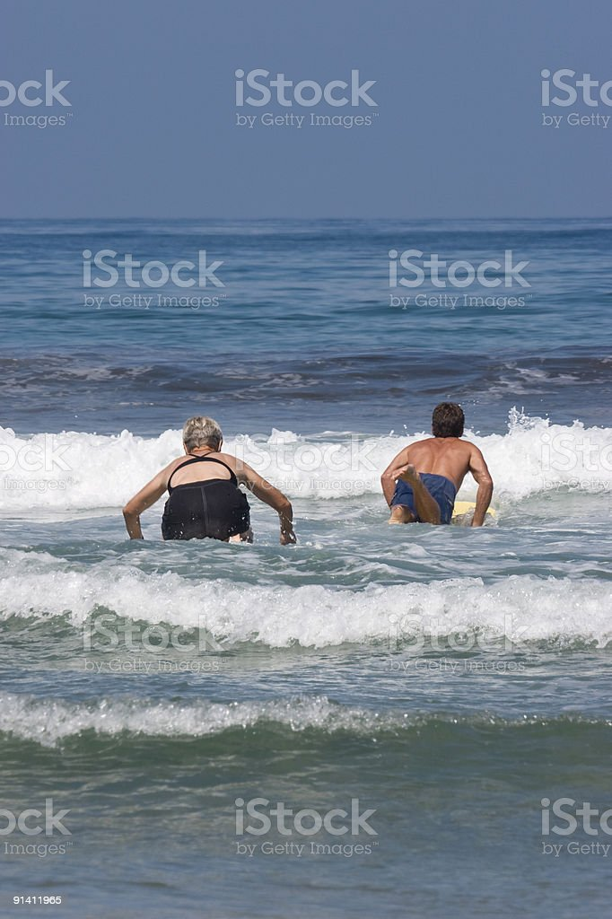 Two Surfers Paddle Out, Blue Ocean, Surfing, Summer Water Sport