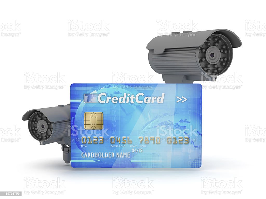 Two surveillance cameras and credit card royalty-free stock photo