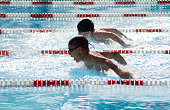 Two swimmers doing the butterfly in a swimming pool