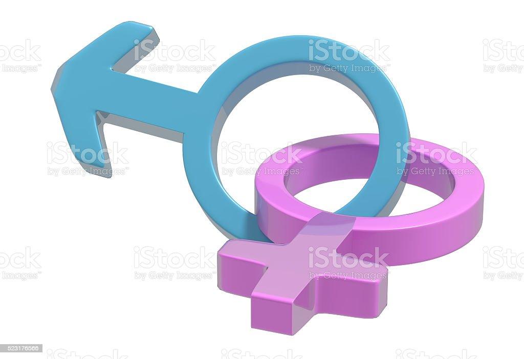 Two symbols of heterosexual relationship stock photo