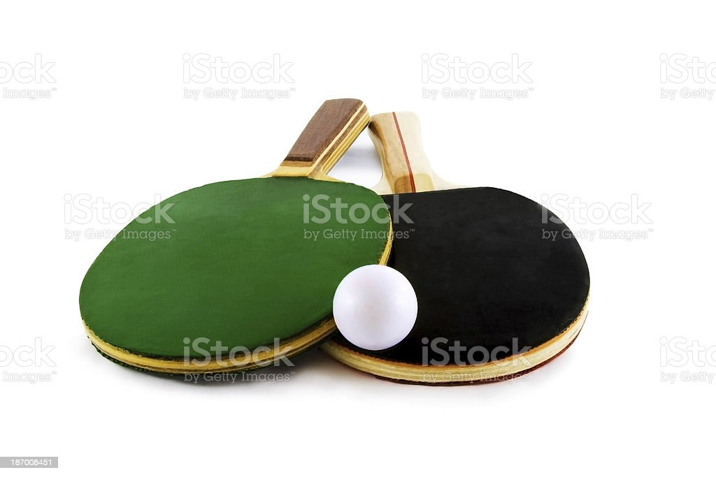 Two table tennis racket and ball isolated on white background royalty-free stock photo