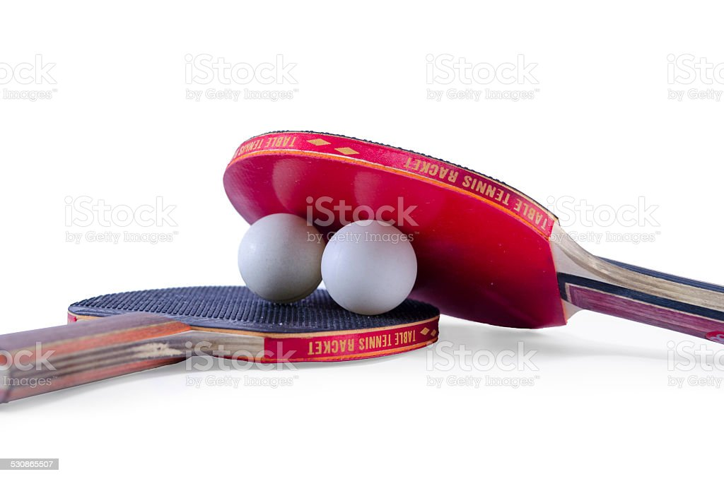 Two table tennis rackets and a ball isolated royalty-free stock photo