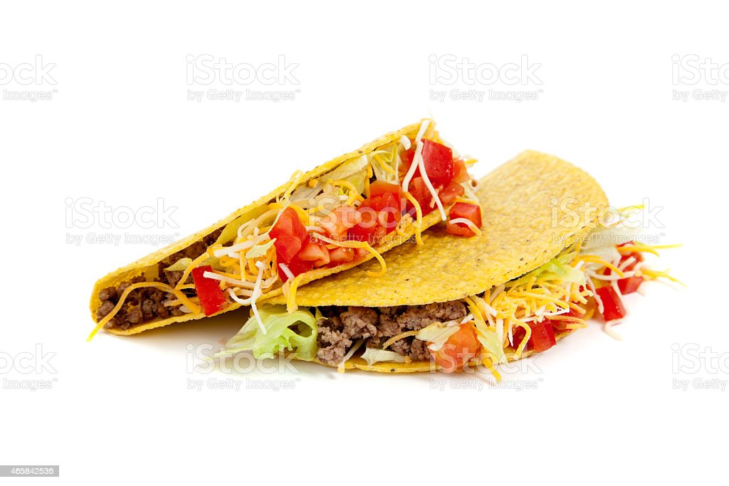 Two tacos on a white background stock photo