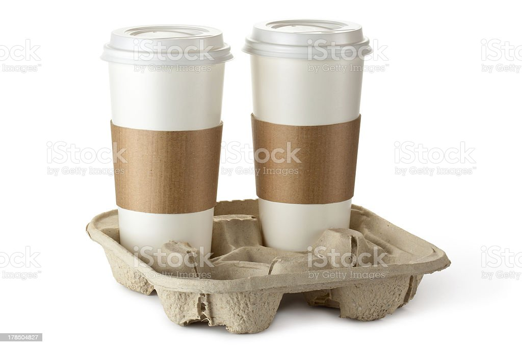 Two take-out coffee in holder royalty-free stock photo