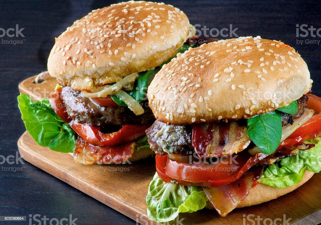 Two Tasty Hamburgers stock photo