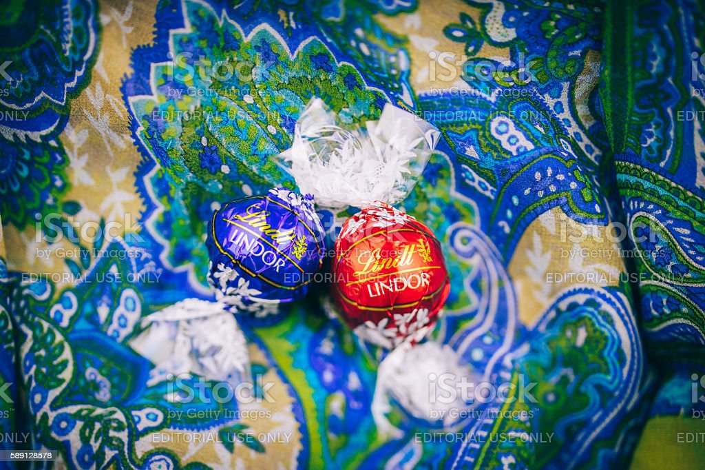 Two tasty Lindt Lindor chocolate stock photo