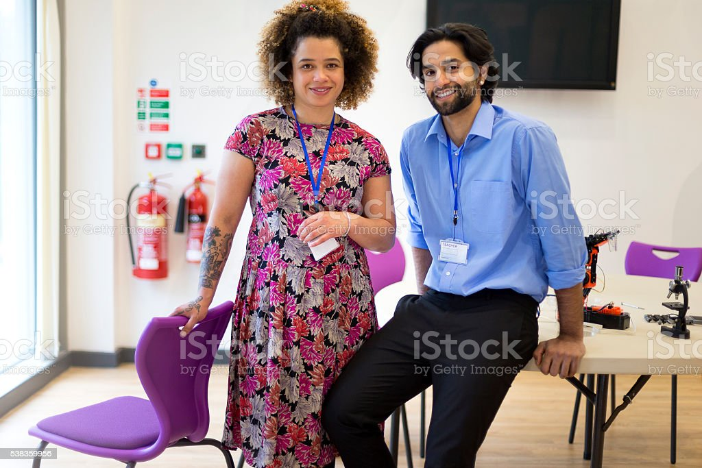 Two Teachers in a Classroom stock photo