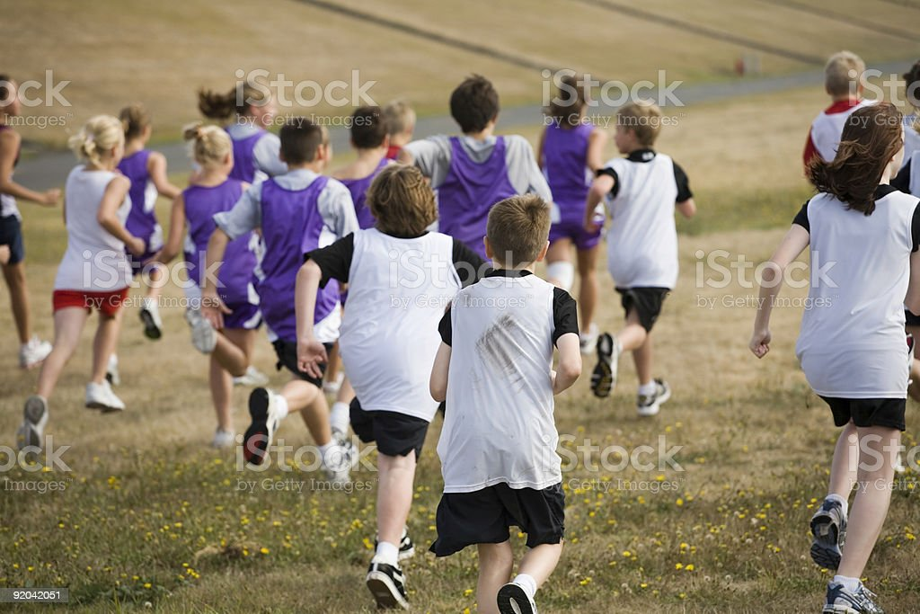 Two Teams of Cross Country Runners royalty-free stock photo